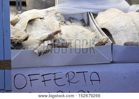 many stock fish at market in italy