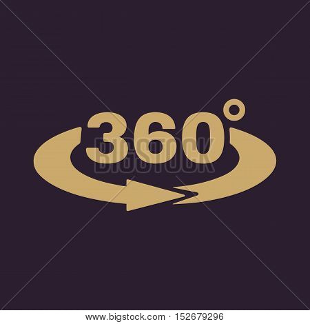The Angle 360 degrees icon. Rotation symbol. Flat Vector illustration