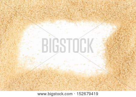 Demerara Sugar Frame isolated on white background