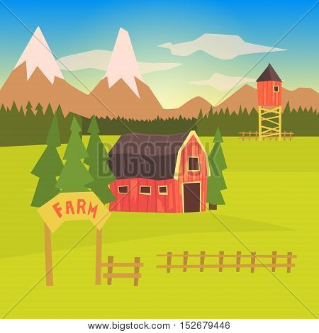 Farm And Surrounding Landscape Colorful Sticker.Bright Color Funky Flat Drawing In Childish Style.