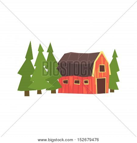Barn And Fir Trees Colorful Farm Sticker.Bright Color Funky Flat Drawing In Childish Style.