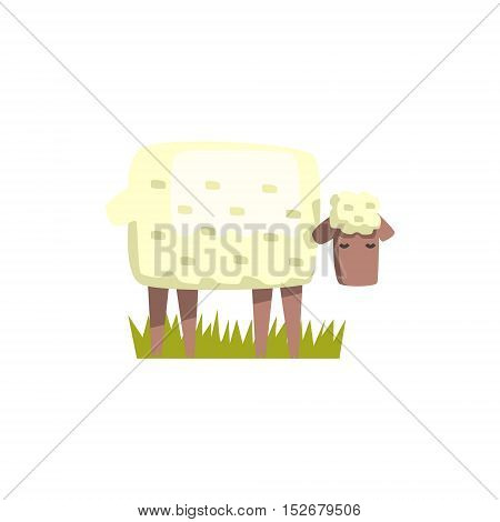 Sheep Toy Farm Animal Cute Sticker.Bright Color Funky Flat Drawing In Geometric Style.