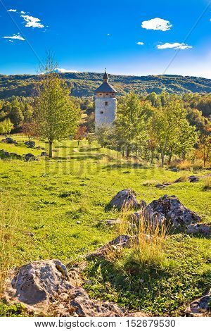 Dreznik Grad tower in Korana canyon Plitvice lakes national park of Croatia