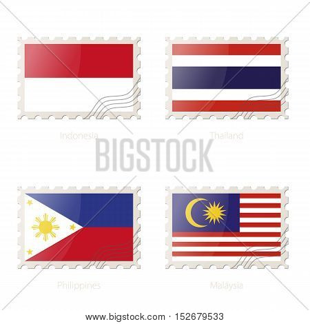 Postage Stamp With The Image Of Indonesia, Thailand, Philippines, Malaysia Flag.