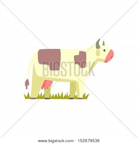 Cow Toy Farm Animal Cute Sticker.Bright Color Funky Flat Drawing In Geometric Style.