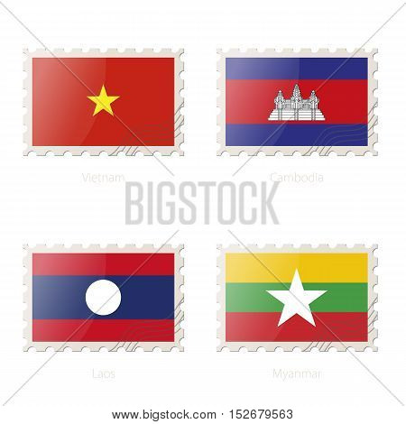 Postage Stamp With The Image Of Vietnam, Cambodia, Laos, Myanmar Flag.