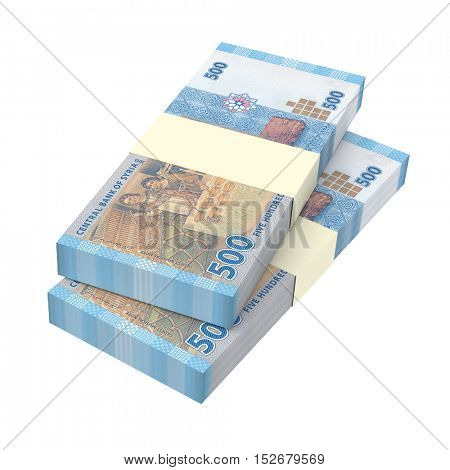 Syrian pounds bills isolated on white background. 3D illustration.