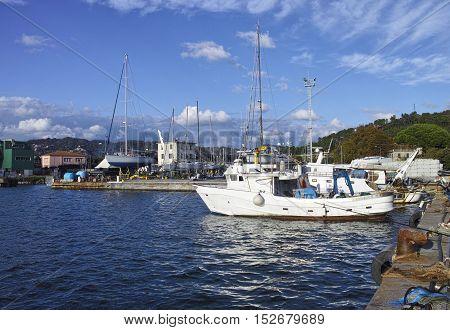 modern fishing boat in the gulf of la spezia