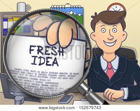 Businessman Shows Concept on Paper Fresh Idea. Closeup View through Magnifying Glass. Colored Modern Line Illustration in Doodle Style.