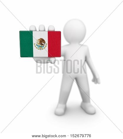 3D Illustration. Man and Mexican flag. Image with clipping path