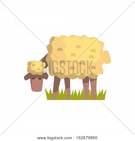 Dirty White Sheep Toy Farm Animal Cute Sticker.Bright Color Funky Flat Drawing In Geometric Style.