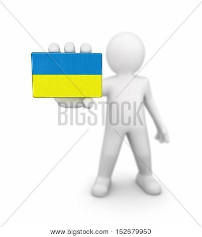 3D Illustration. Man and Ukrainian flag. Image with clipping path