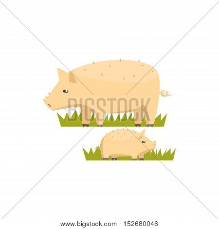 Pig And Piglet Toy Farm Animal Cute Sticker.Bright Color Funky Flat Drawing In Geometric Style.