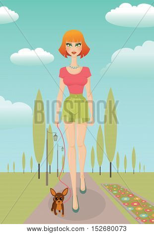 Young pretty red-haired girl walks in the park with a small dog. EPS10 vector illustration.