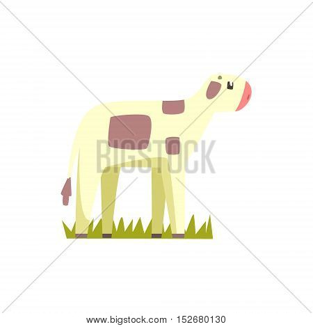 Cow Calf Toy Farm Animal Cute Sticker.Bright Color Funky Flat Drawing In Geometric Style.