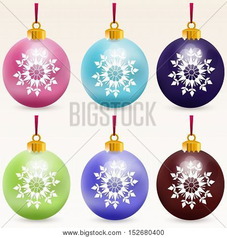 Very high quality original trendy realistic vector multicolor christmas balls with snowflakes