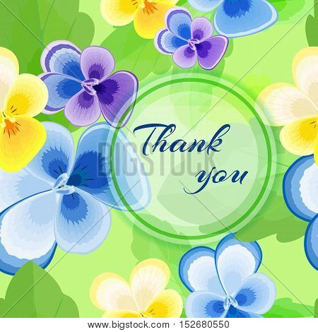 Beautiful greeting card Thank you Vector summer illustration with flowers and blue inscription.Purple, blue and yellow pansies on a light green background.