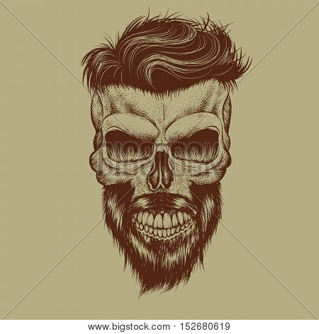 Skull with hairstyle and beard.Detailed work .Engraving style.Hand drawn vector illustration