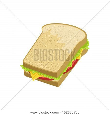 Sandwich Street Food Menu Item Realistic Detailed Illustration. Take Away Lunch Icon Isolated On White Background.