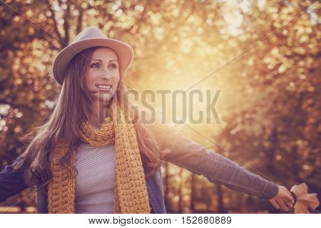 carefree hipster female in the sunlight
