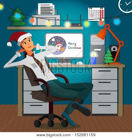 Businessman sitting in the office in the evening on Christmas Eve. Workplace festively decorated for the New Year. Flat cartoon vector illustration