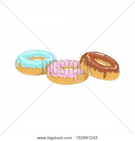 Doughnuts Street Food Menu Item Realistic Detailed Illustration. Take Away Lunch Icon Isolated On White Background.