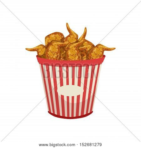 Chicken Wings Street Food Menu Item Realistic Detailed Illustration. Take Away Lunch Icon Isolated On White Background.
