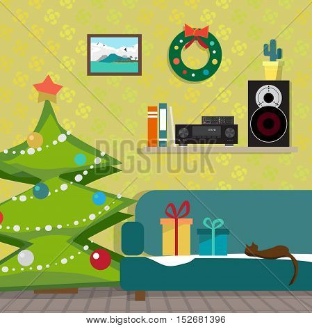 Christmas room interior. Christmas tree, gift and decoration. The music receiver and speaker on a shelf. Flat cartoon vector illustration