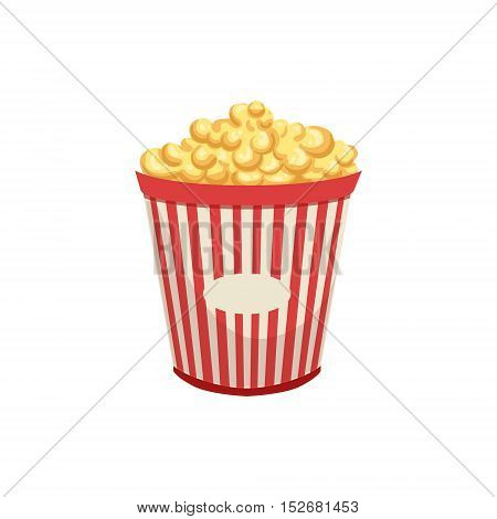 Popcorn Street Food Menu Item Realistic Detailed Illustration. Take Away Lunch Icon Isolated On White Background.