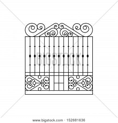 Metal Grid Fencing Design. Forged Iron Lattice Park Fence Black And White Vector Template