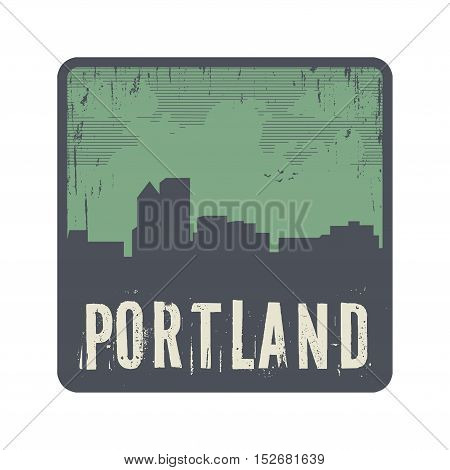Grunge vintage stamp with text Portland vector illustration