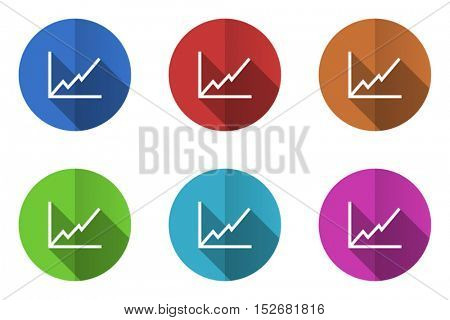 Graph flat vector icons