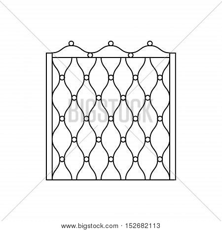 Decorative Metal Grid Fencing Design Forged Iron Lattice Park Fence Black And White Vector Template