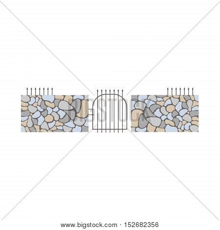 Dry Stack Wall Fence Design Element Template With Gate. Edging Creative Landscape Idea Icon On White Background.