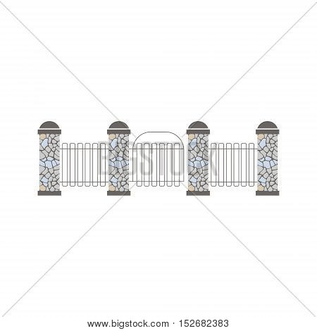 Pillars And Grid Fence Design Element Template. Edging Creative Landscape Idea Icon On White Background.