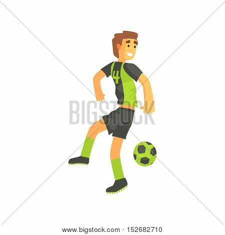 Football Player Flanking Isolated Illustration. Flat Cartoon Character In Simple Childish Style Vector Drawing.