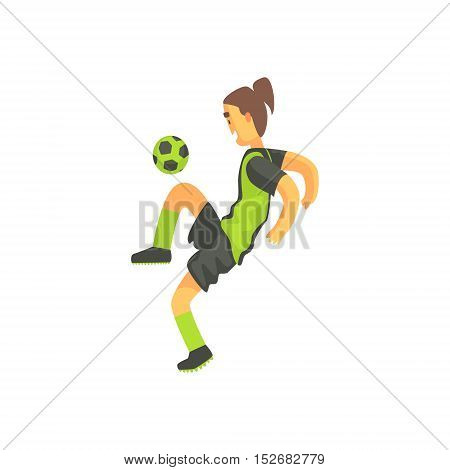 Football Player With Ponytail Isolated Illustration. Flat Cartoon Character In Simple Childish Style Vector Drawing.