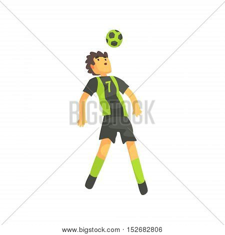 Football Player Getting Ball On The Head Isolated Illustration. Flat Cartoon Character In Simple Childish Style Vector Drawing.