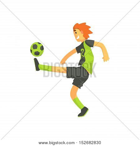 Football Player Kicking The Ball Isolated Illustration. Flat Cartoon Character In Simple Childish Style Vector Drawing.