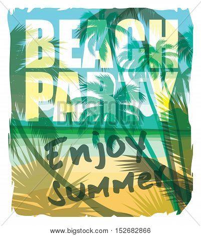 Tropical Beach Summer Print With Slogan.
