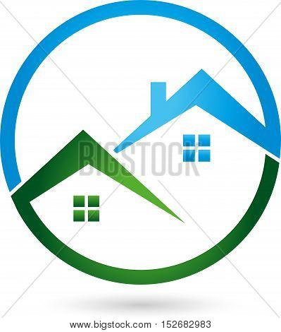 Two houses, roofs and real estate logo