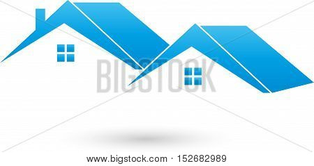 Two houses, roofs, real estate and real estate broker logo