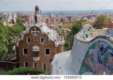 Barcelona, Spain - 24 September 2016: Park Guell Casa del Guarda - Porters Lodge. It houses the exhibition Guell, Gaudi and Barcelona, the expression of an urban ideal.