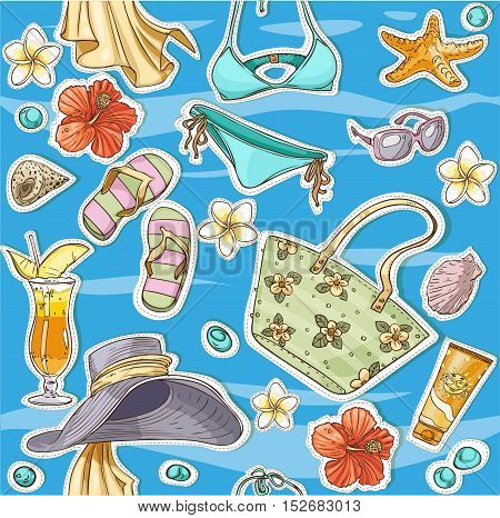 Seamless pattern from beach accessories on a background of blue waves of calm