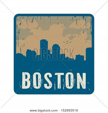 Grunge vintage stamp with text Boston vector illustration