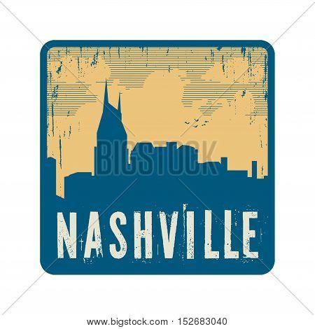 Grunge vintage stamp with text Nashville vector illustration