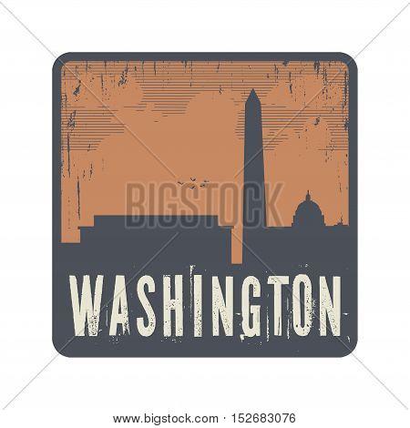 Grunge vintage stamp with text Washington vector illustration