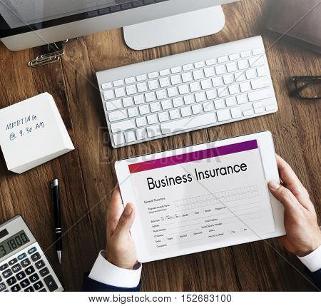 Business Insurance Benefit Document Concept