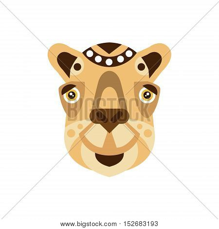 Camel African Animals Stylized Geometric Head. Flat Colorful Vector Creative Design Icon Isolated On White Background