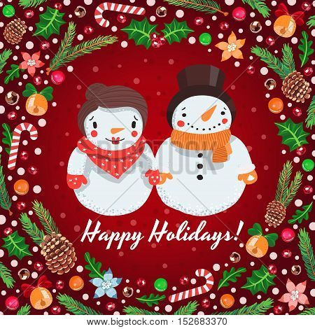 Merry Christmas cartoon snowmen couple vector greeting card with holiday symbols.